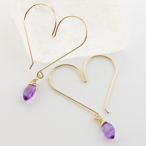 Gemstone Heart Hoops - Amethyst Medium