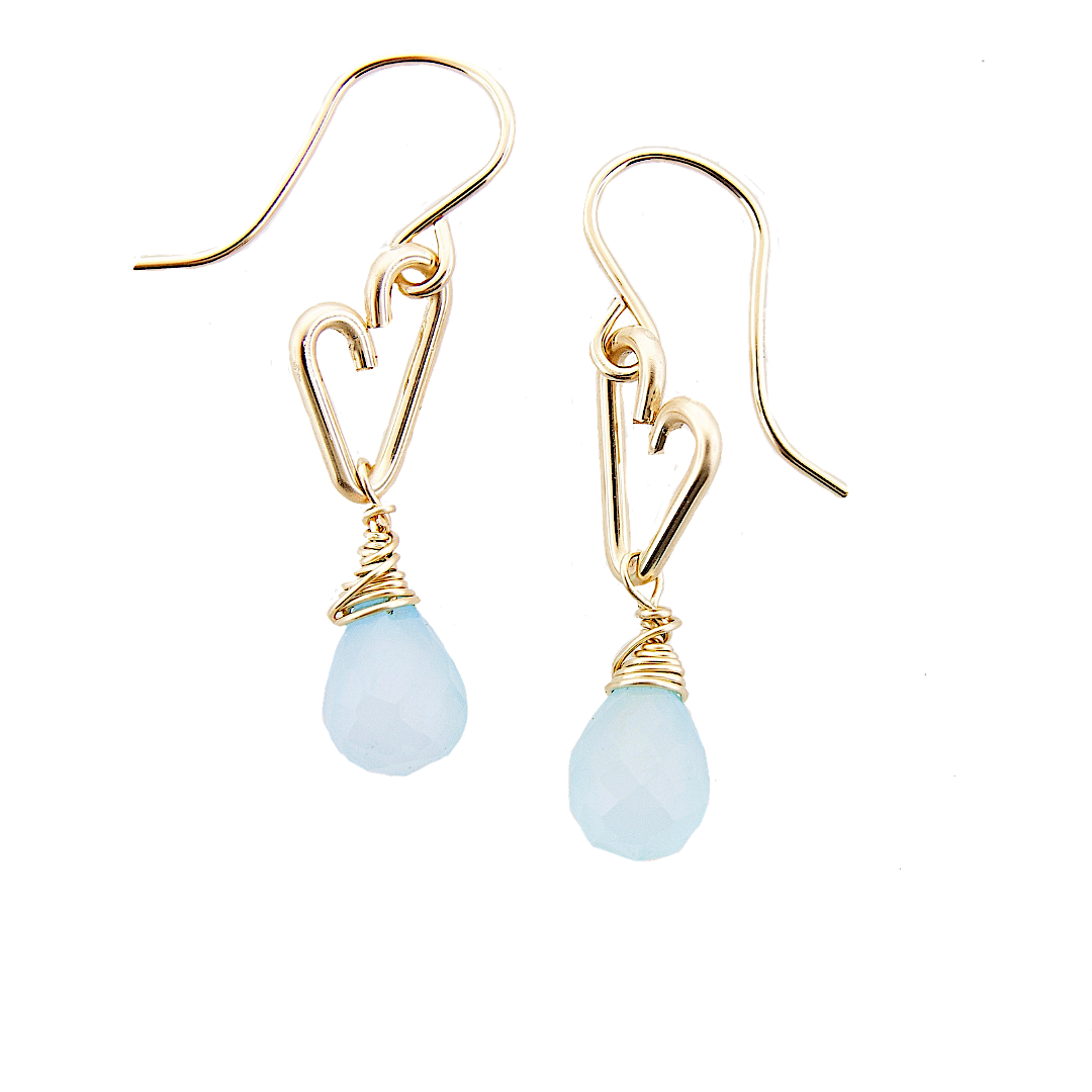 Heart Drop Earrings - Aqua Chalcedony