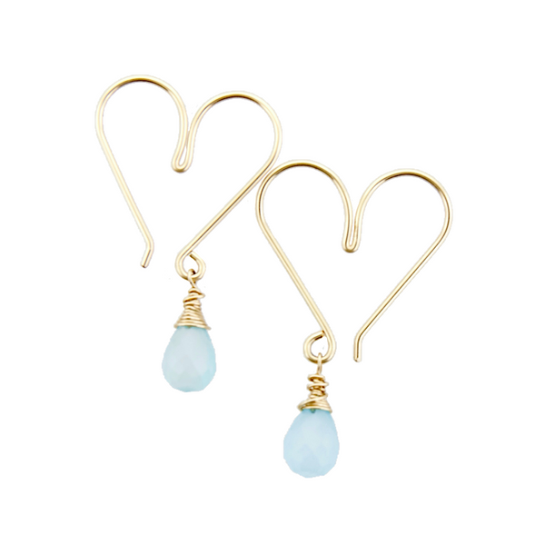 Gemstone Heart Hoops Small - Aqua Chalcedony