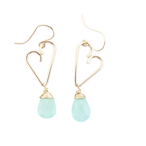 Heart Drop Earrings - Aqua Chalcedony  - Medium Size