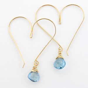 Gemstone Heart Hoops - Blue Topaz