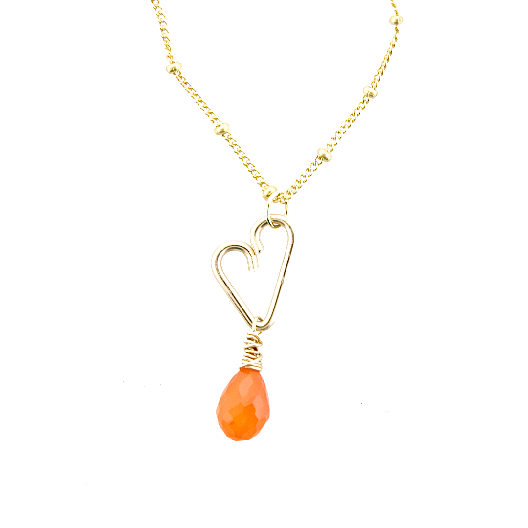 Heart Drop Necklace  - Carnelian