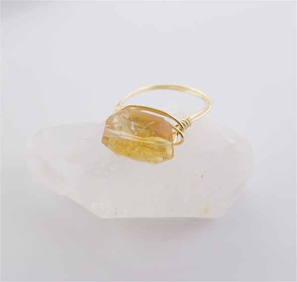 Citrine Wire Wrapped Ring