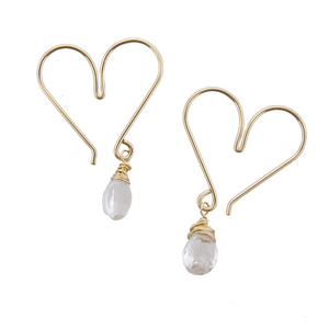 Gemstone Heart Hoops Small - Crystal Quartz
