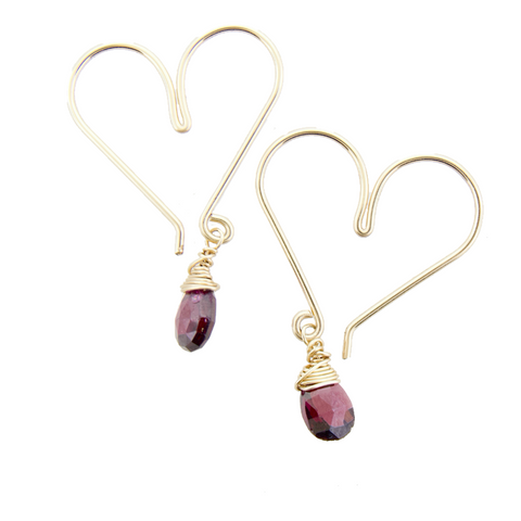 Gemstone Heart Hoops Small - Garnet