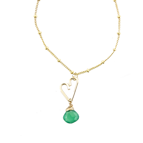 Heart Drop Necklace  - Green Onyx