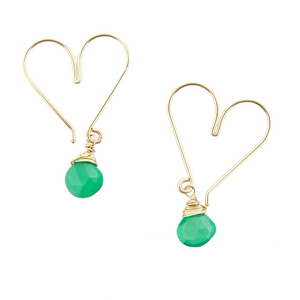 Gemstone Heart Hoops Small - Green Onyx