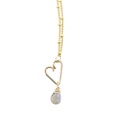 Heart Drop Necklace  - Labradorite