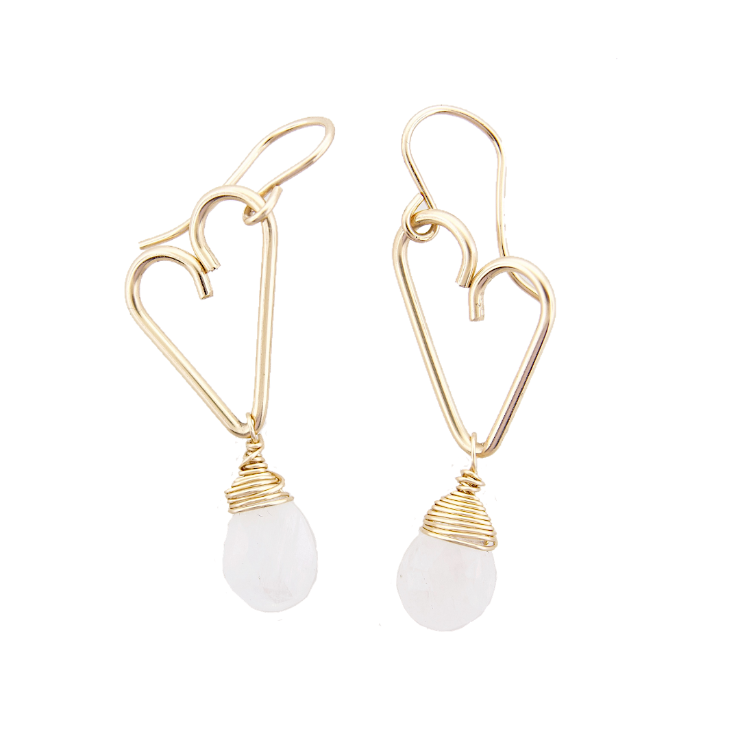 Heart Drop Earrings - Moonstone - Medium Size