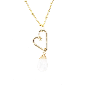 Heart Drop Necklace  - Moonstone
