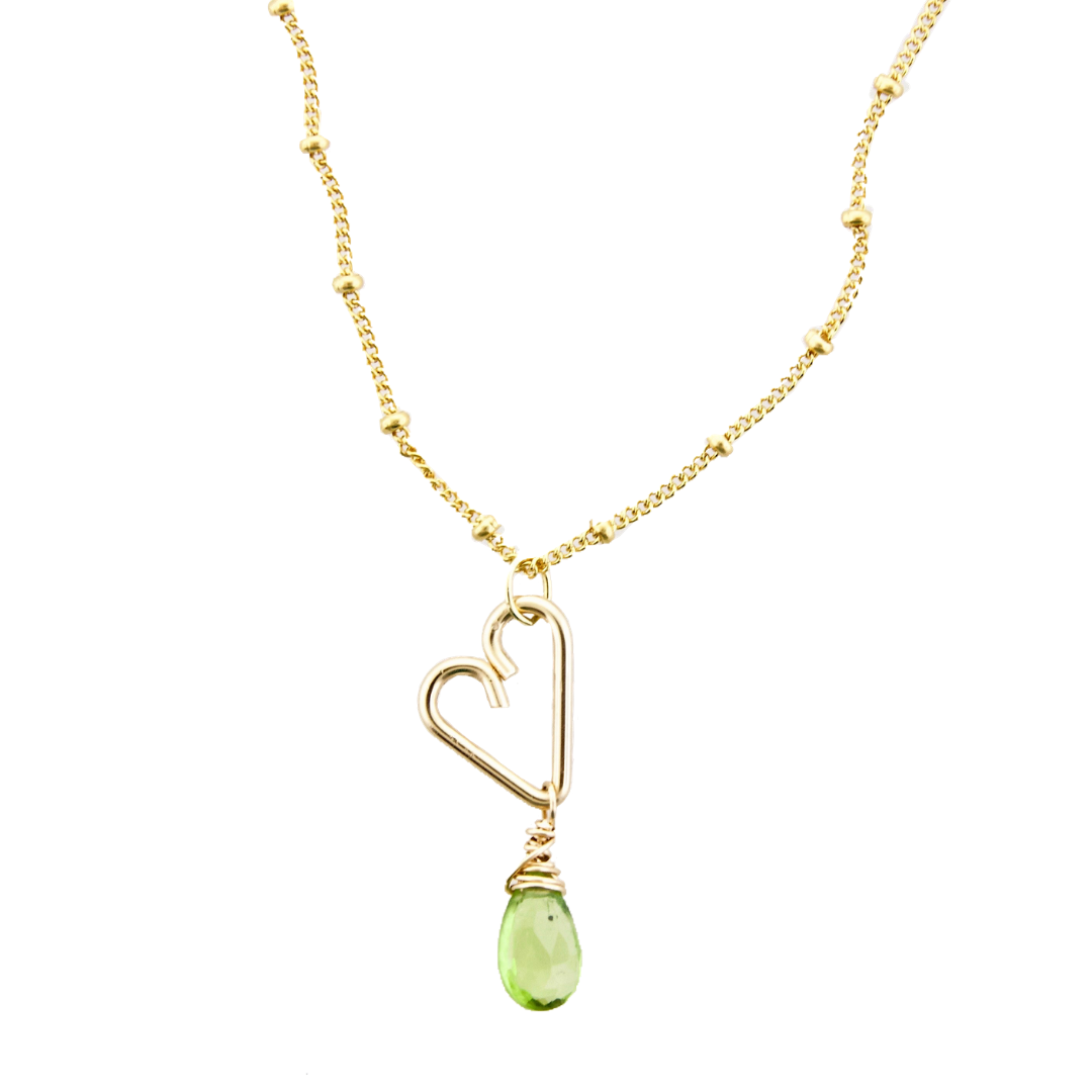 Heart Drop Necklace  - Peridot