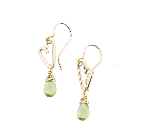 Heart Drop Earrings - Peridot