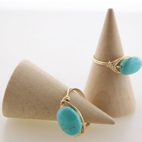 Petite Turquoise Oval Rings