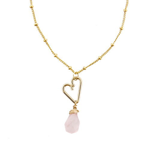 Heart Drop Necklace  - Rose Quartz