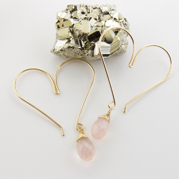 Gemstone Heart Hoops - Rose Quartz Medium