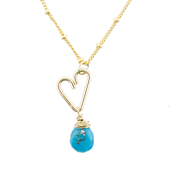 Heart Drop Necklace  - Turquoise