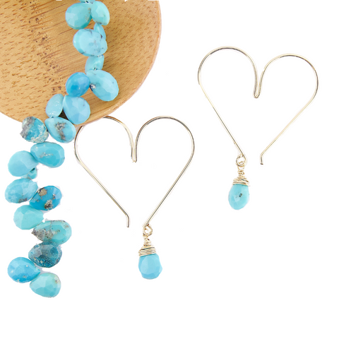 Gemstone Heart Hoops - Turquoise