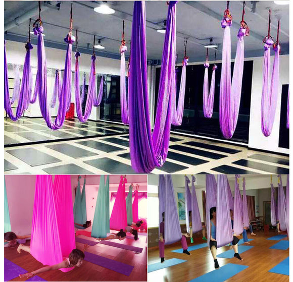 Aerial Silk Yoga Flying Swing Hammock Silk Fabric for Yoga Bodybuilding(5mx2.8m)