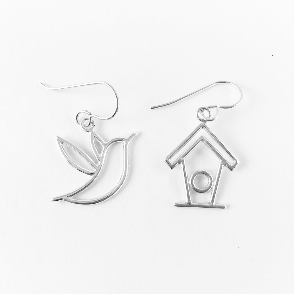 WCE - Humming Bird/Birdhouse Earrings - Sterling Silver