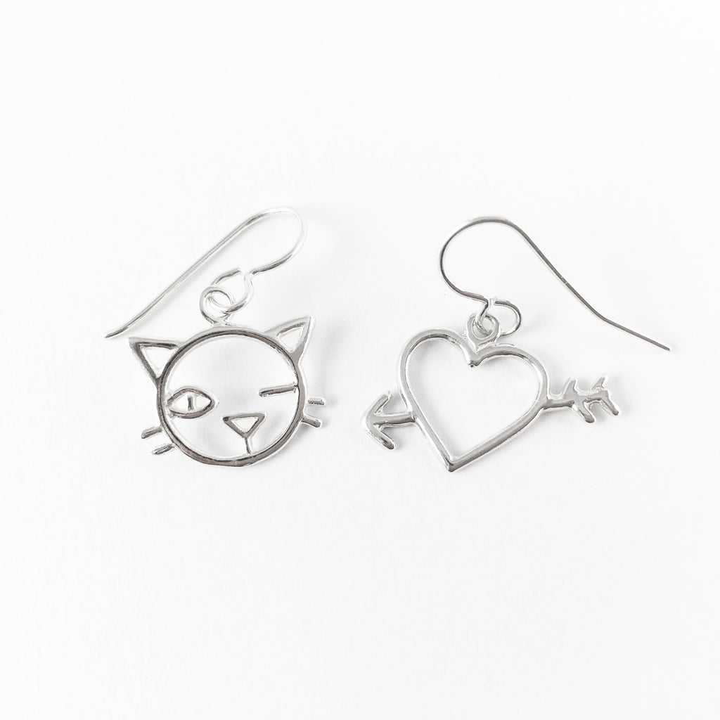 WCE - Kitty/Heart Earrings - Sterling Silver