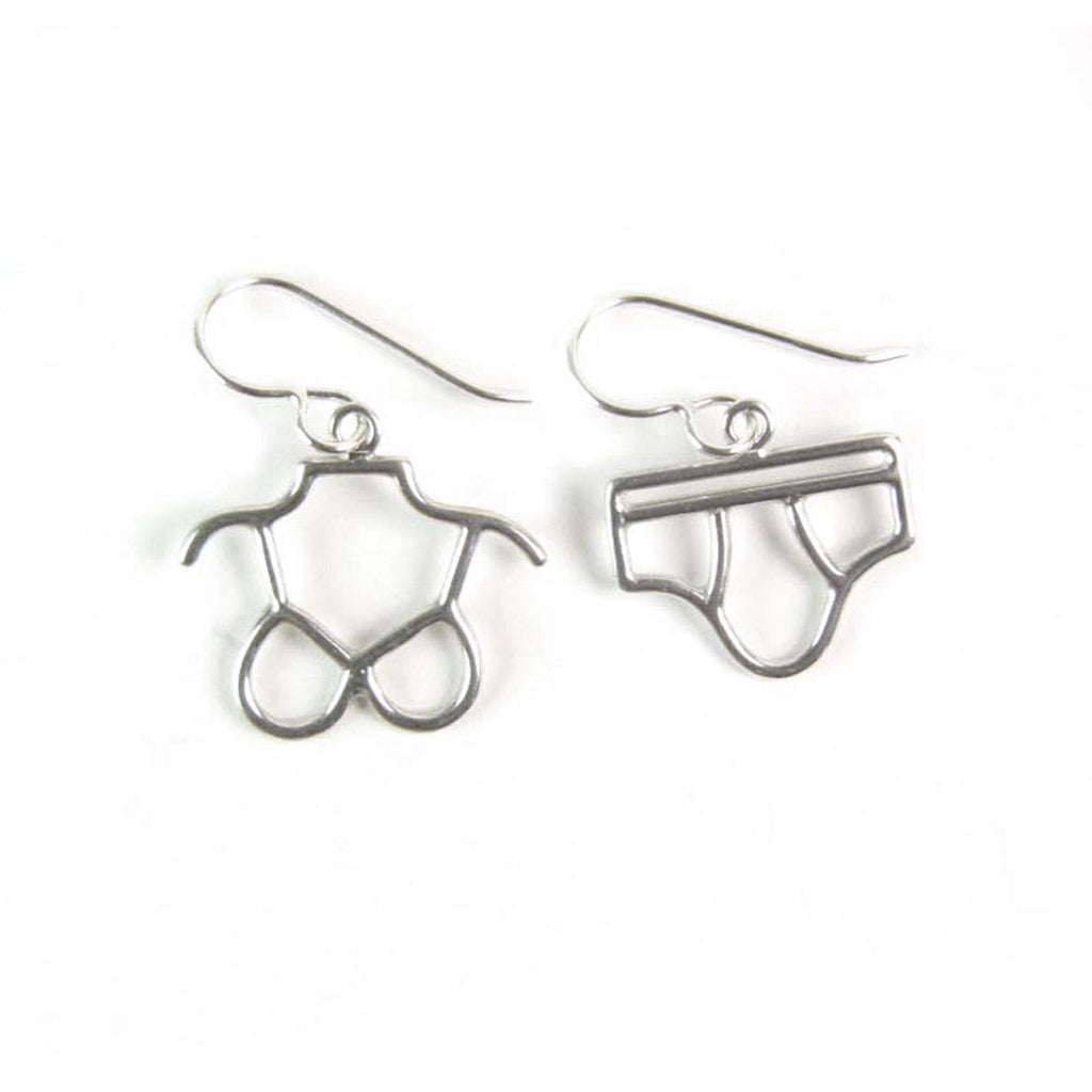 WCE01- Bra and Brief Earrings Sterling Silver