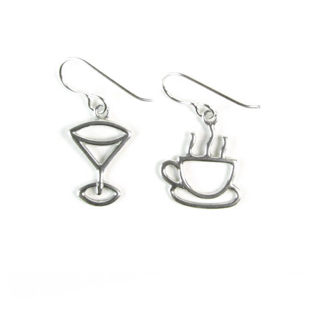 WCE02- Martini and Coffee Earrings - Sterling Silver
