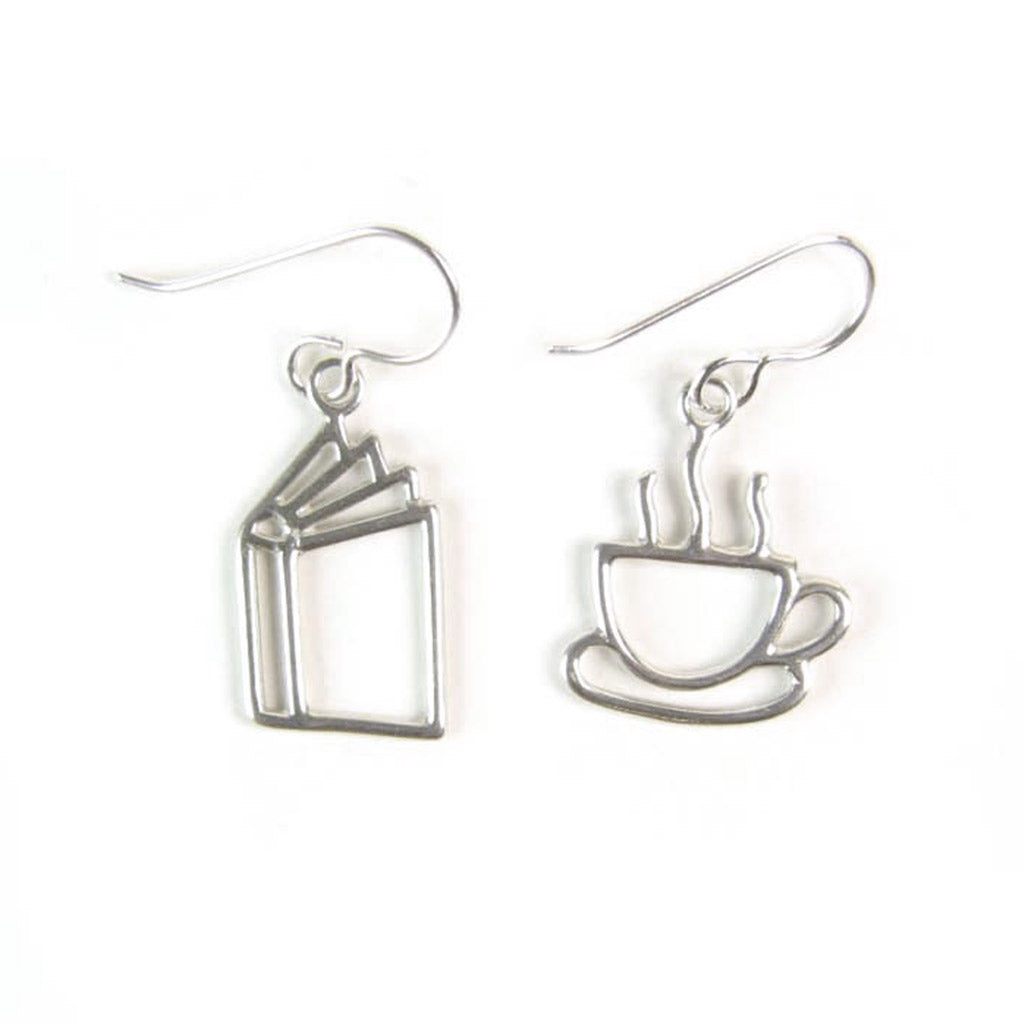 WCE56- Book and Coffee Earrings - Sterling Silver