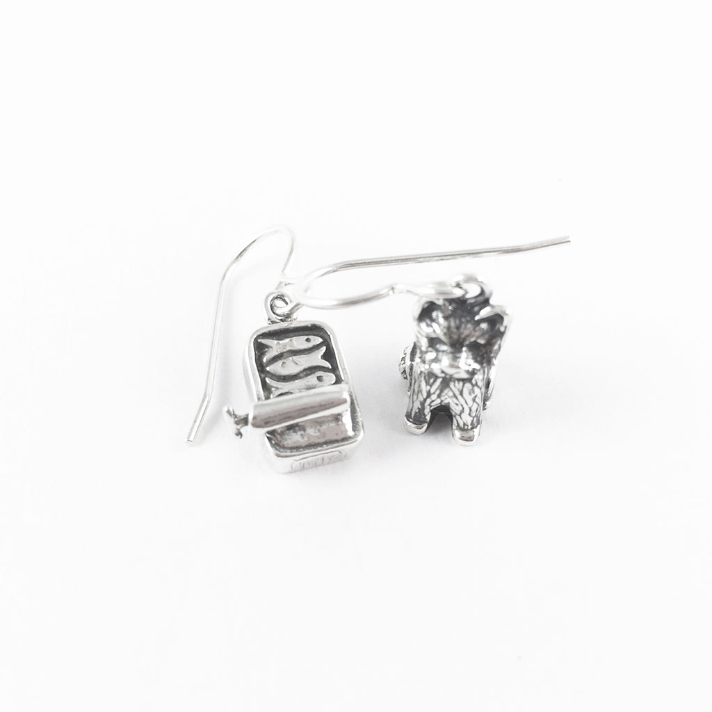 CE - Cat/Sardine Can Earrings - Sterling Silver