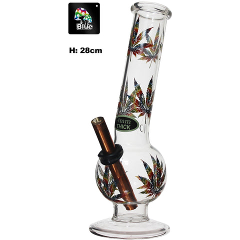 Large Bent Bubble Bong With Leaf Print