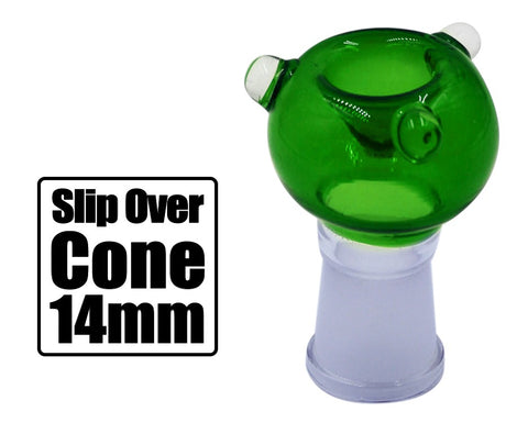 Green 14mm Slip Over Cone Piece - BongsMart