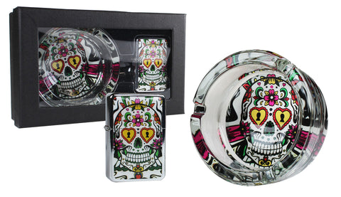 Candy Skull Ashtray & Oil Lighter Gift Pack 1/50 - BongsMart