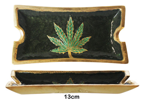 Rectangle Brass Leaf Ashtray \ Plate 1/10 - BongsMart
