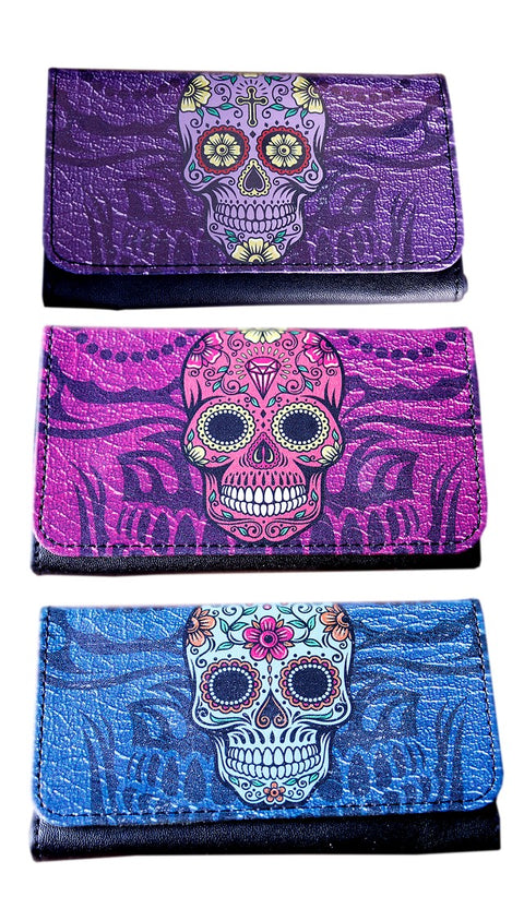 Candy Skulls PU Tobacco Pouch - Holds 25