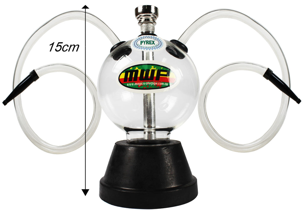 Bubble Glass Hookah - Twin Hose (15cm)