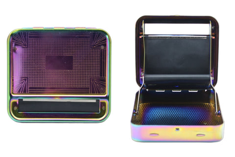 Metal Roller & Tobacco Case - Rainbow
