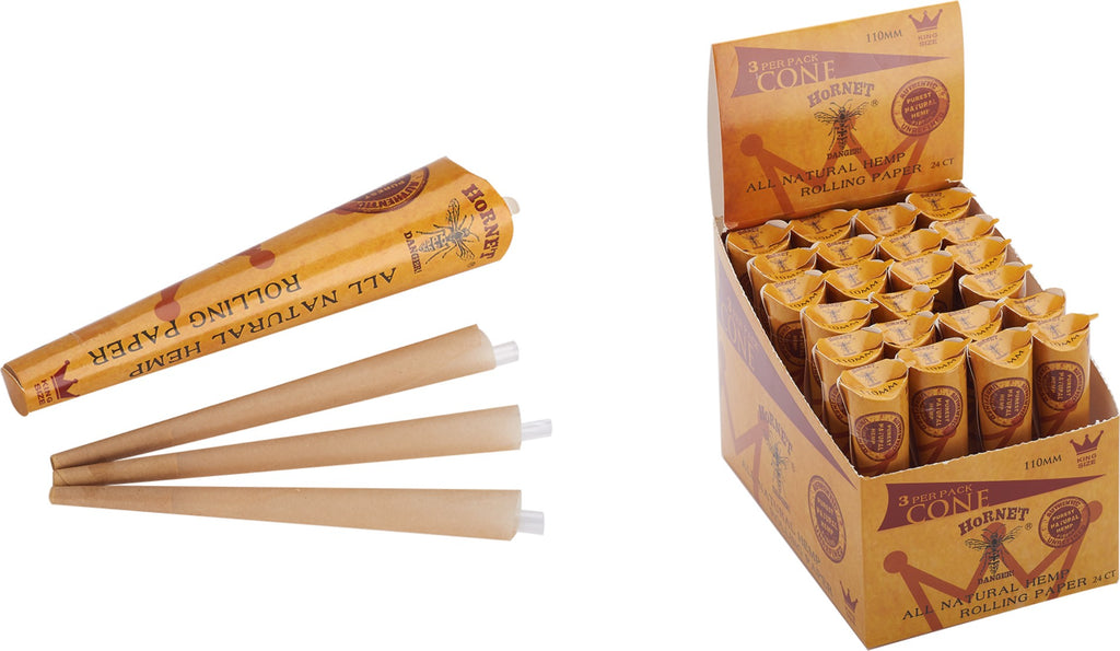 Hornet 3 Pack Hemp Cones 110mm ( King Size)