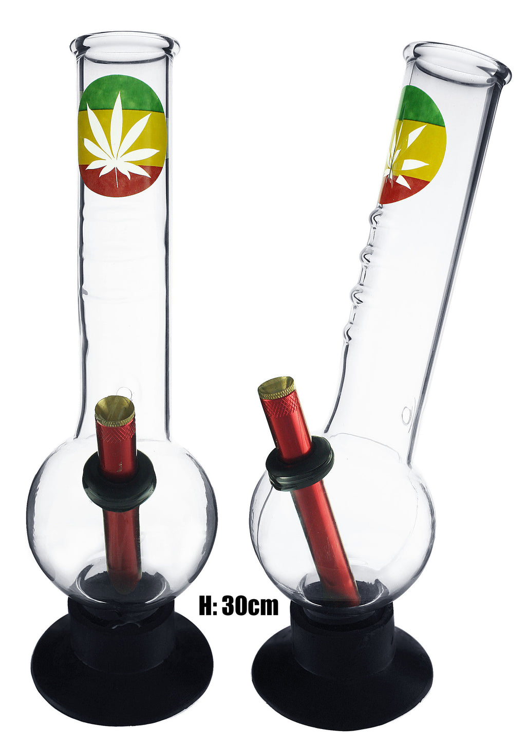 Large Bent Bubble Gripper - Rasta Colours With Leaf