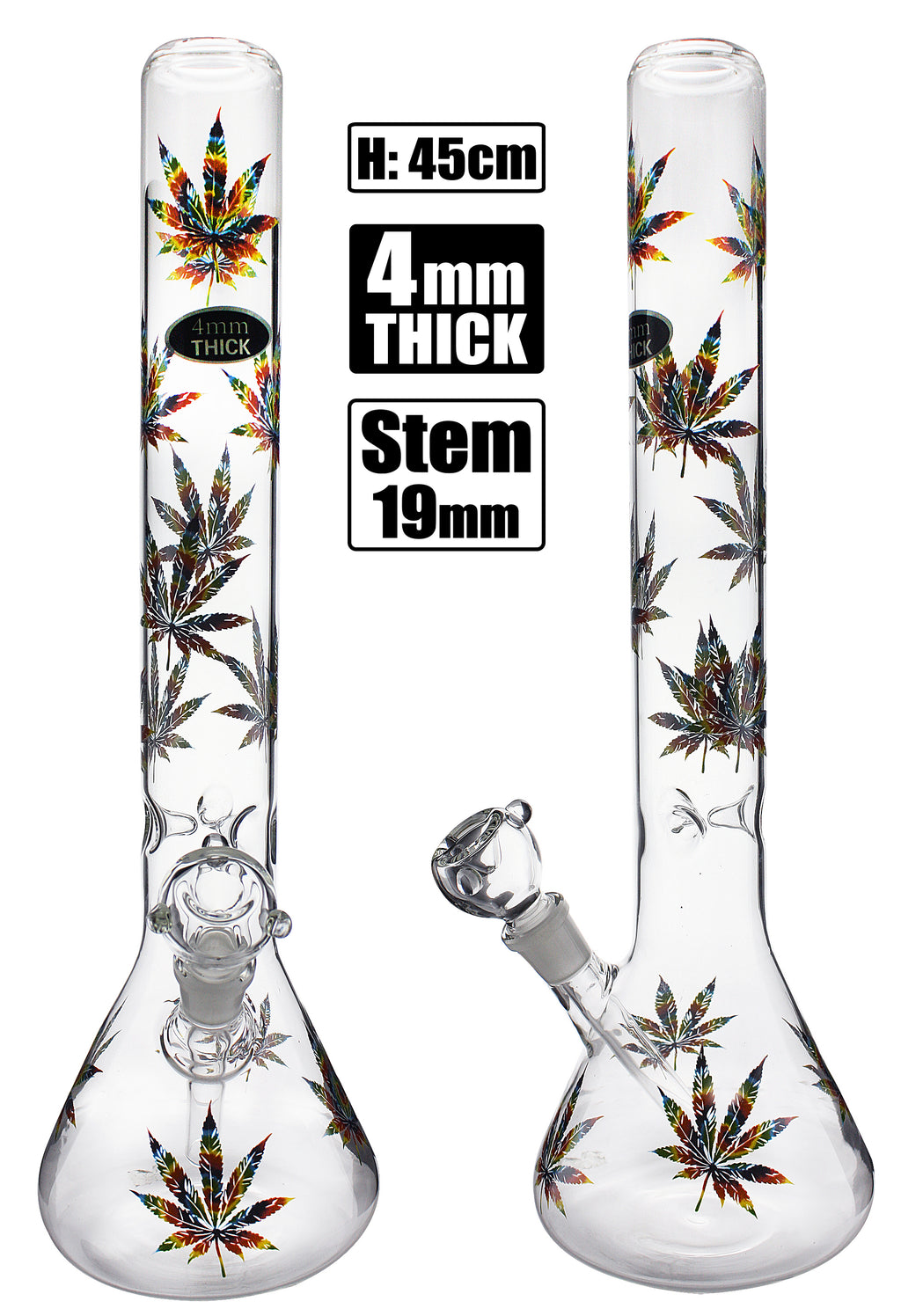 Stone Age X Large Beaker With Rasta Leaf 45cm