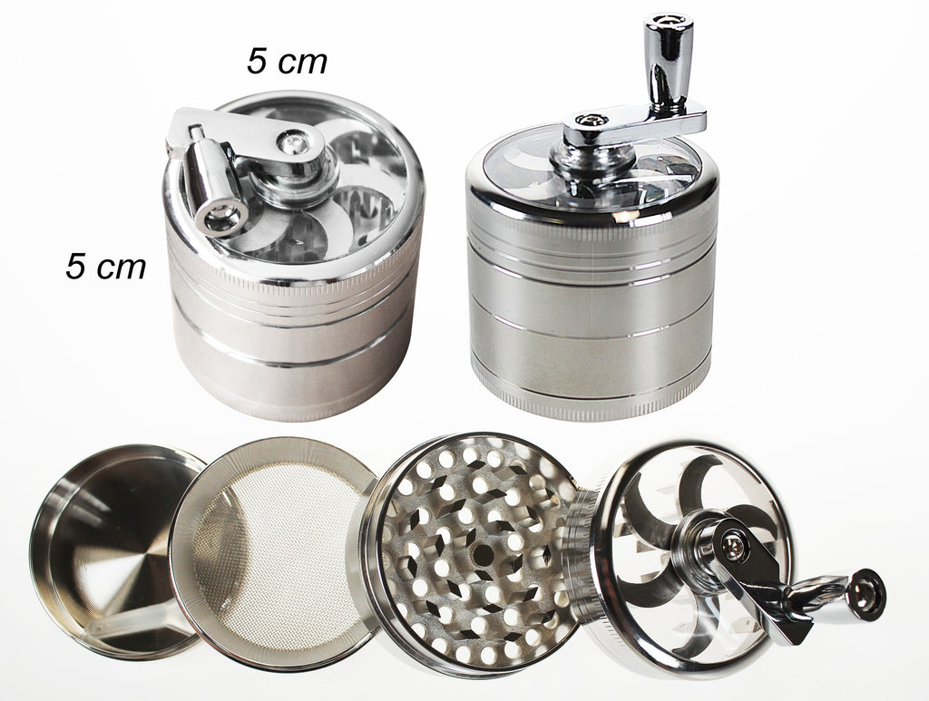 4 Layer High Quality Metal Grinder With Handle - BongsMart