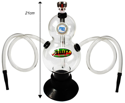 Double Bubble Glass Hookah - Twin Hose (21cm)