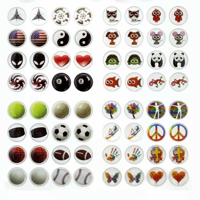 SALE! 64 piece Domed Vinyl Resin Sticker Decal Packs