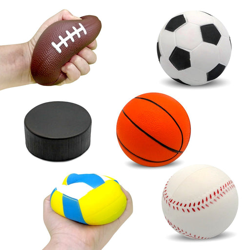 "Squish-Eez Jumbo Sports pack 6 Pack  (4"") - Soccer, Football, Basketball, Baseball, Hockey, Volleyball Scented Slow Rising Squishy Toy"