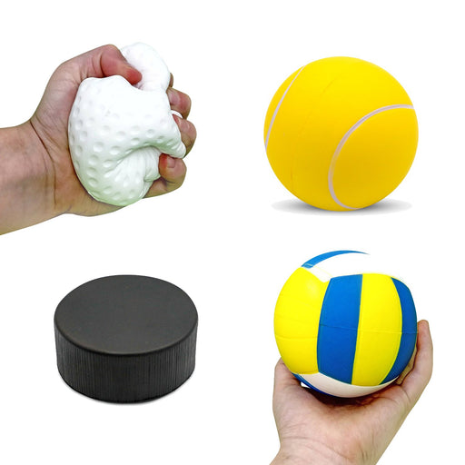 "Squish-Eez Jumbo Sports pack 4 Pack  (4"") - Hockey, Golf, Tennis, Volleyball Scented Slow Rising Squishy Toy"
