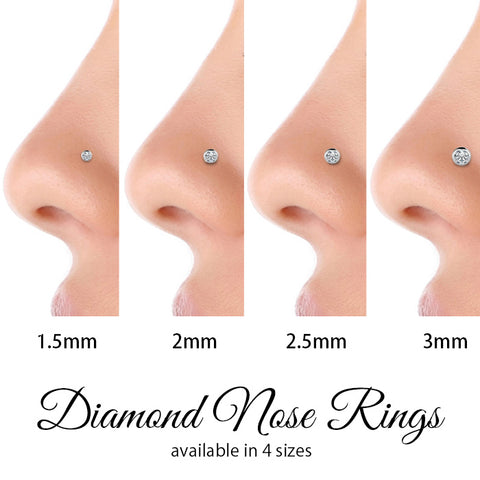 2mm Petite Diamond Flush Bezel Nose Ring Stud Freshtrends