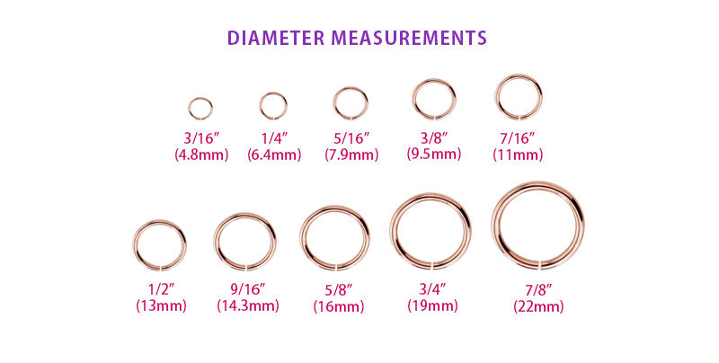 How to measure hoop, circular barbell, and captive bead ring diameters