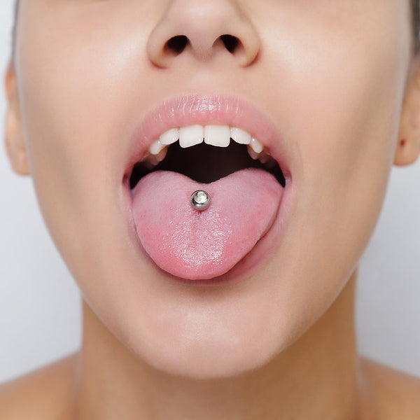 Woman with tongue pierced