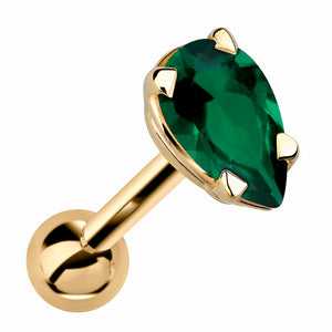 Pear Shaped Genuine Birthstone 14k Gold Cartilage Earring