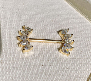 White Sapphire 10 Pears Crescent 14k Gold Barbell Nipple Ring  Natural Shot