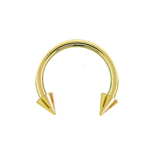 14K Gold Spike Circular Barbell