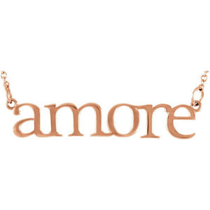 """Amore"" 14K Gold Pendant Necklace"